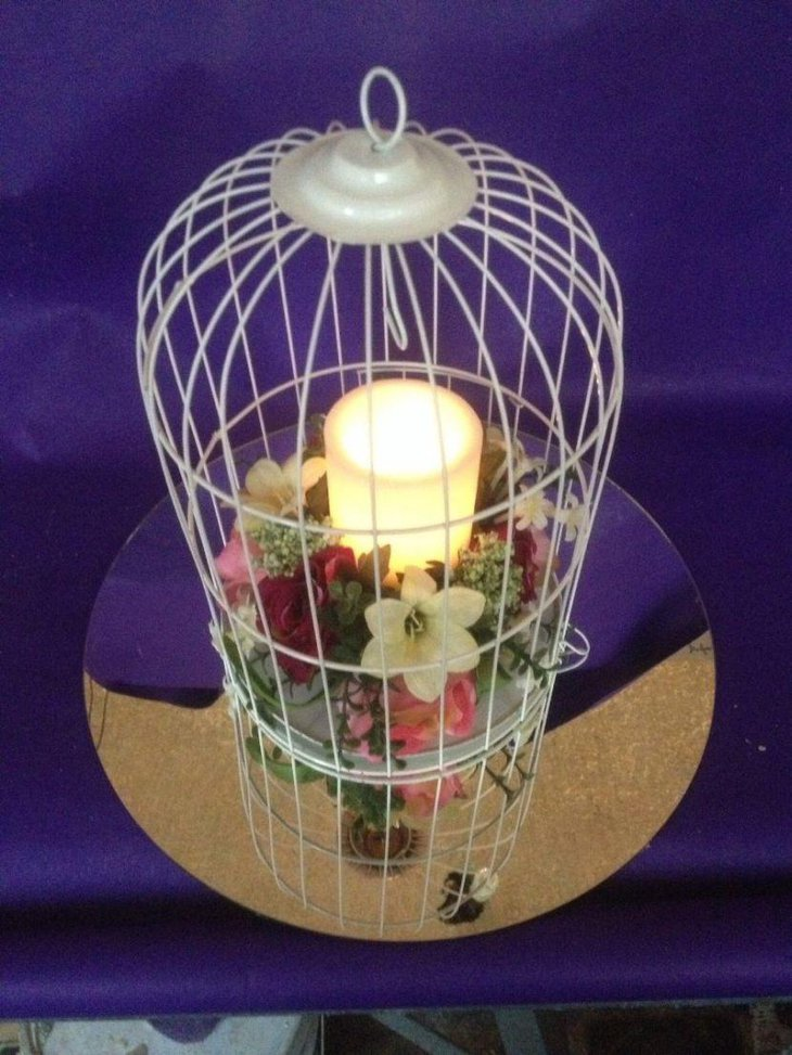Candle birdcage wedding table centerpiece
