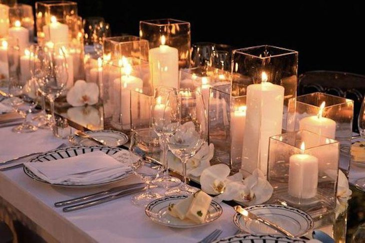 Candle Filled Hurricane Vases Table Centerpieces For Wedding