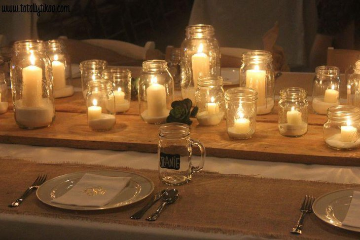 Candles in naked mason jars for a rustic look