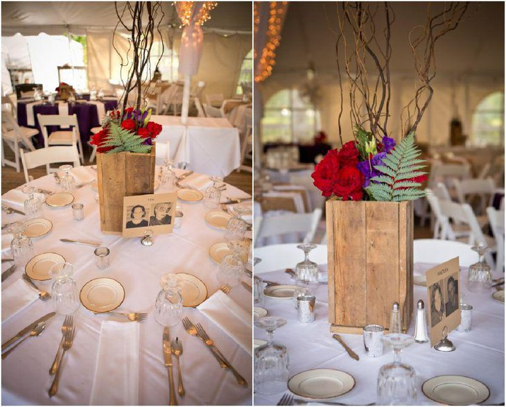 Charming country wedding recption table decor with wooden vase and picture