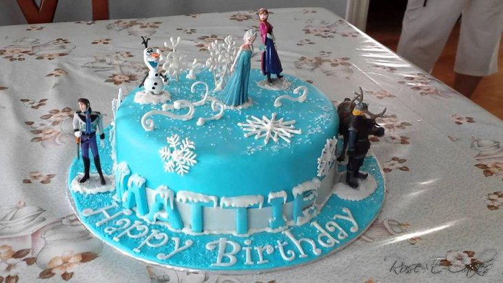 Charming Disneys Frozen themed birthday cake for girls