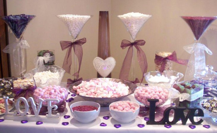 35 purple and white wedding candy buffet ideas table decorating ideas. Black Bedroom Furniture Sets. Home Design Ideas