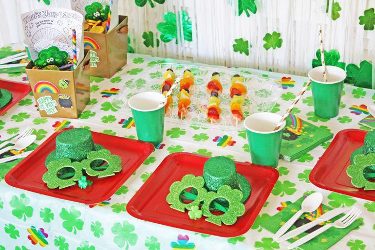 Cheerful table setup with green theme for St Patricks Day