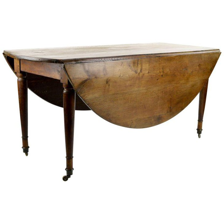 Chestnut round drop leaf dining table