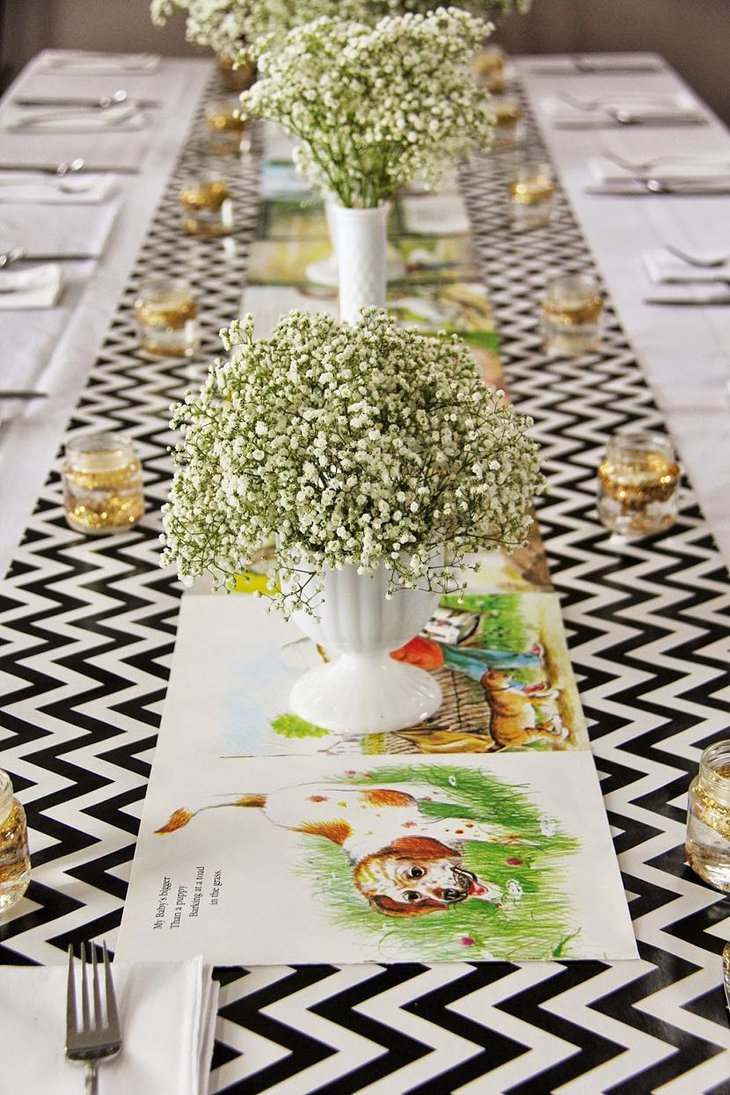 Chevron Pattern and Childrens Book Table Runner