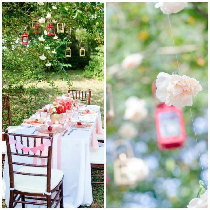 Chic romantic garden bridal shower table