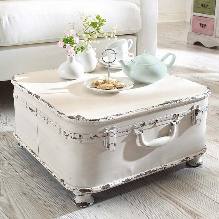 Chic White DIY Suitcase Coffee Table