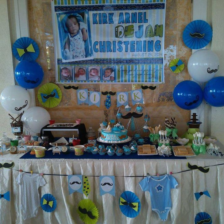 Christening candy table in blue accents