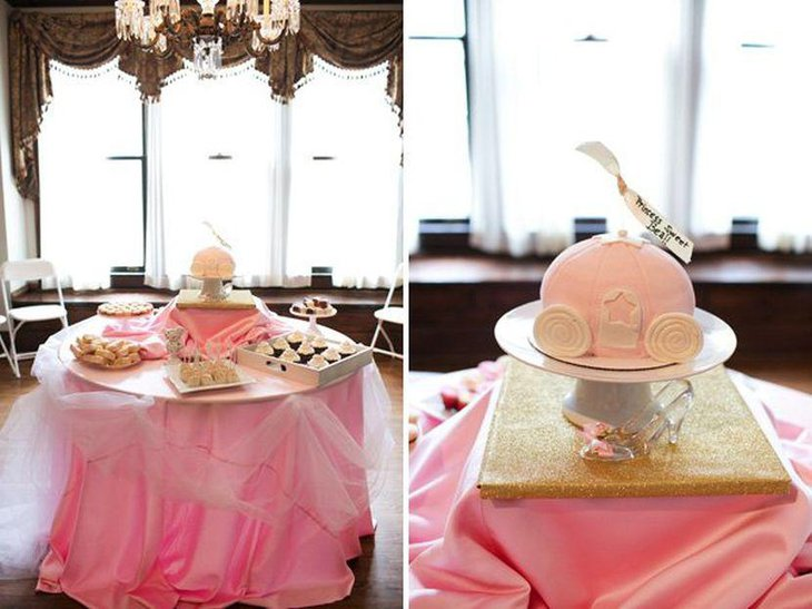Cindrella inspired princess themed girl baby shower with pink accents
