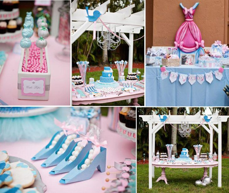 Cindrella princess themed birthday table decor