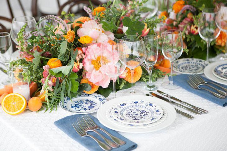 Citrus and floral decor on spring table