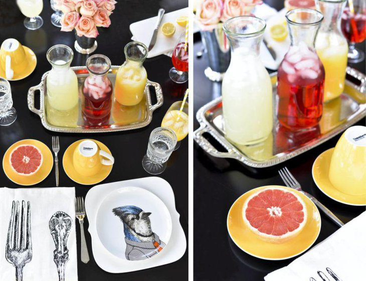Citrus spring table decor