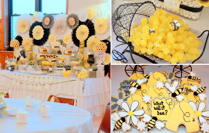 Classic Bee Themed Baby Shower Table Decorations