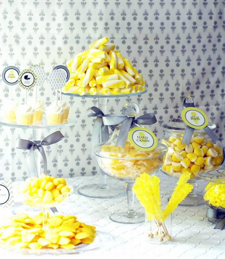 Classic Yellow and Grey Baby Shower Dessert Table