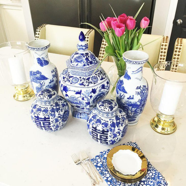 Classy blue and white printed ceramic vase decor on spring table