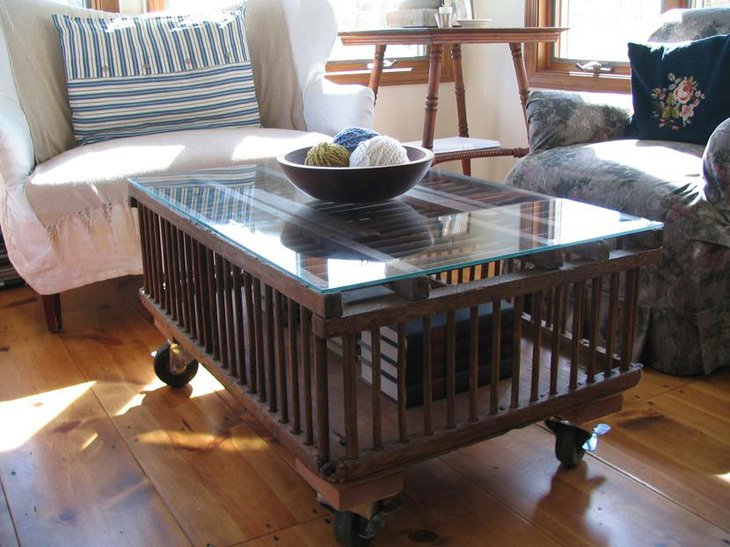Classy Chicken Crate DIY Coffee Table with Glass