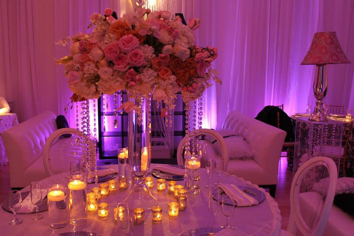 Classy Cyrstal and Flower Arrangements for Wedding Reception