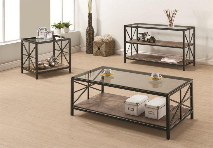 Coaster Avondale rustic coffee table set