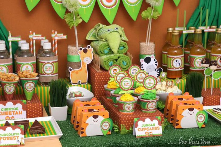 Colorful Animals Jungle Spring Baby Shower Themes for Boys