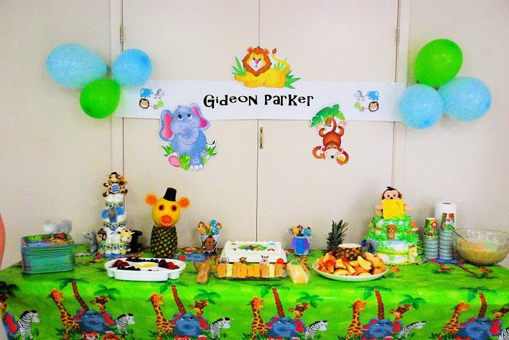 Colorful Animals Lavish Spring Baby Shower Themes for Boys