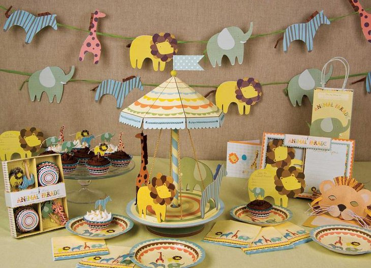 Colorful Animals Spring Baby Shower Themes for Boys