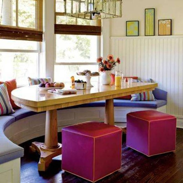 Colorful Breakfast Nook Decorating Ideas With Half Curved Table And Fuschia Benches And Purple Window Seat