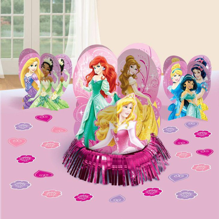 Colorful Disney Princess Cutouts As Centerpieces For Birthday Party