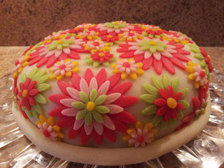 Colorful floral cake design for birthday