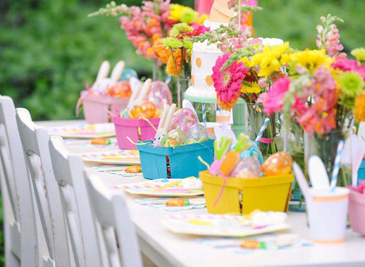 Colorful flower decor for outdoor party