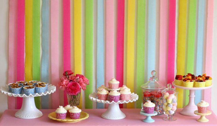 Colorful Rainbow themed dessert table