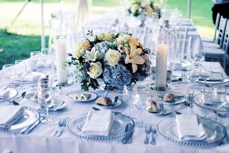 30 easy wedding table decor ideas table decorating ideas colorful summery centerpiece table ideas classic blue hydrangea wedding decor junglespirit Images