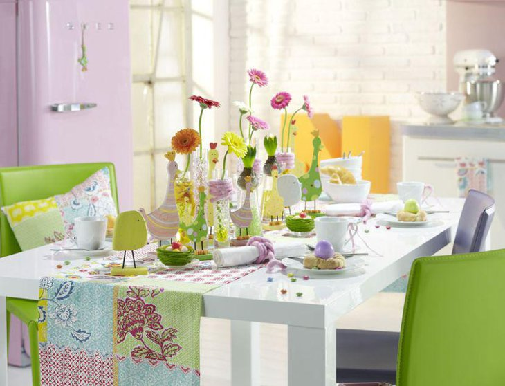 Colourful breakfast table embellished with gorgeous flowers