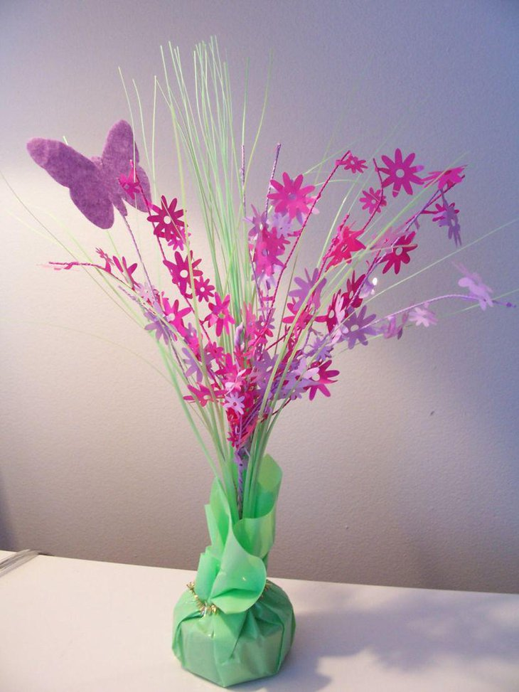 Colourful butterfly baby shower table centerpiece