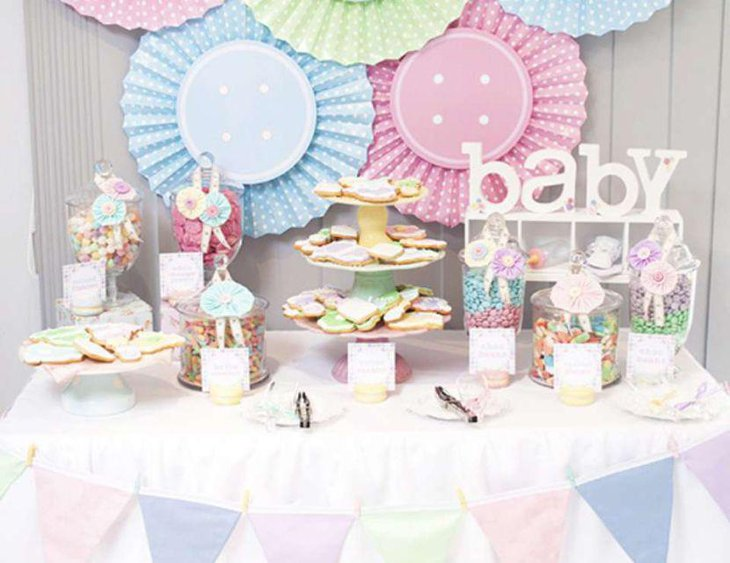 Colourful candy display on baby shower candy table