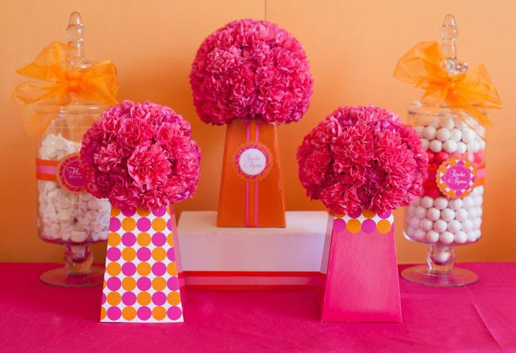 Colourful DIY floral centerpieces for party table decor