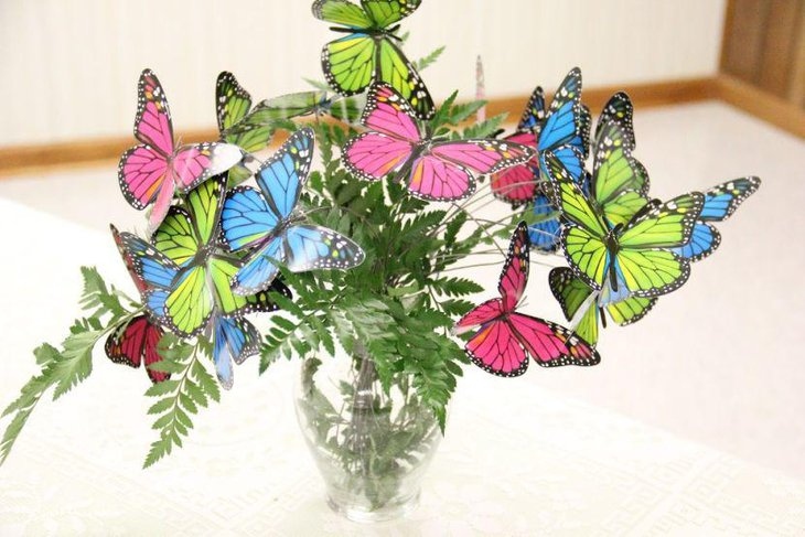 Colourful jar butterfly baby shower centerpiece