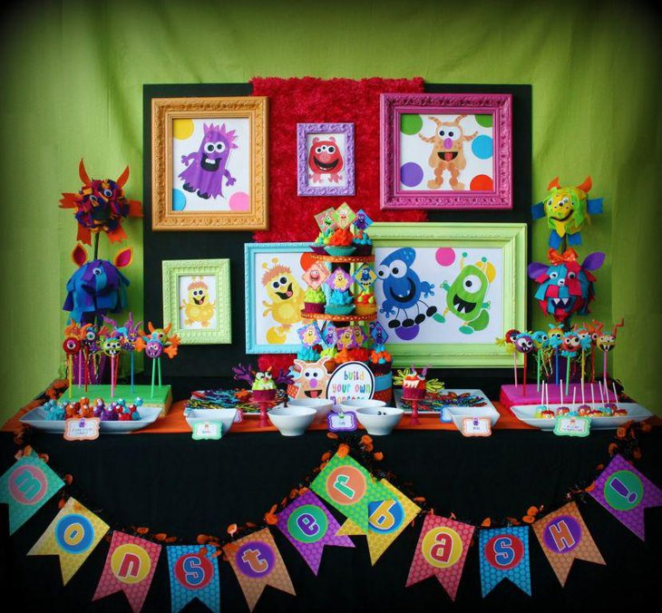 Colourful monster themed kids Halloween party table