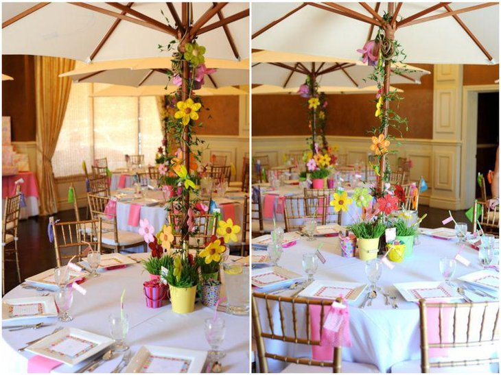 Colourful spring themed girl baby shower decor idea
