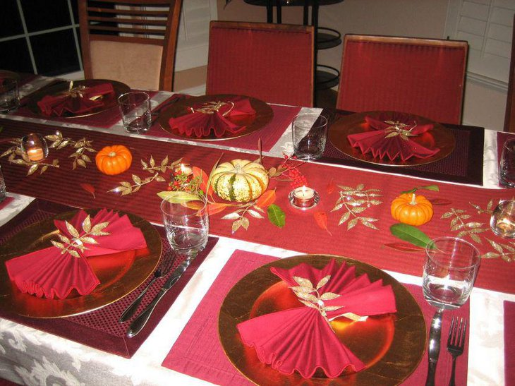 Colourful Thanksgiving Table Decorative Idea With Red Silken Runner and Pumpkins