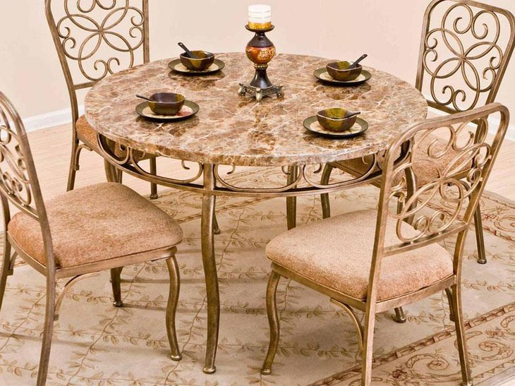 Granite Dining Table Sets ~ Elegant round dining table ideas decorating