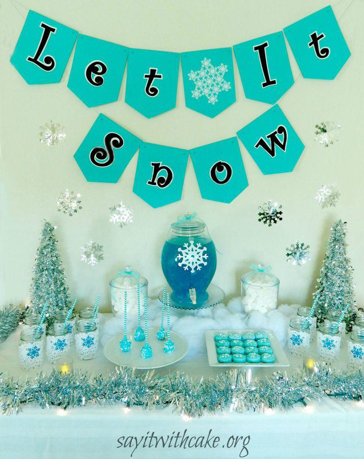 Cool blue and white Christmas candy table decor