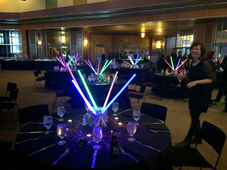 Cool guest table arrangement for Star Wars themed birthday party