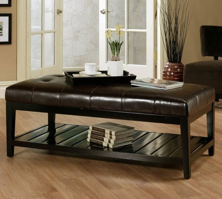 Cool Leather Ottoman Coffee Table With Bookshelf