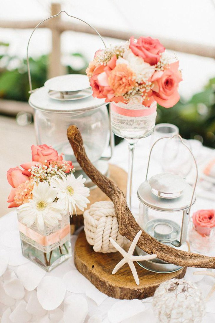 Top 31 beach theme wedding centerpieces ideas table decorating ideas coral pink rose centerpiece for a beach theme wedding table junglespirit Image collections