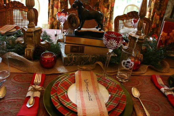 Cozy winter table decor with twine tied napkins and burlap palce card holders