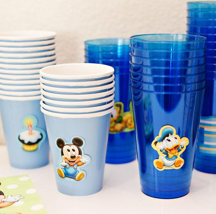 creative and easy diy baby mickey embossed cups on birthday table