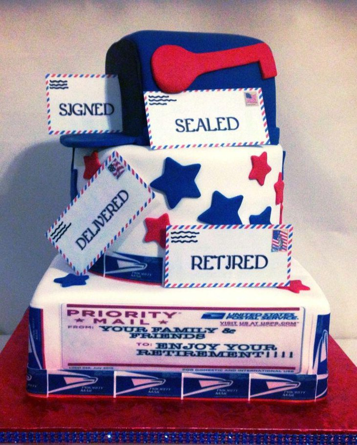 Customised retirement cake for party table