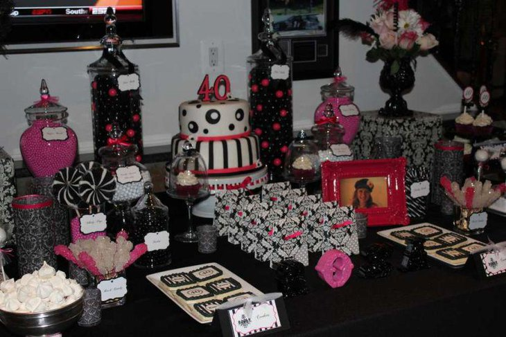 Cute 40th birthday party table decor with pink and black accents