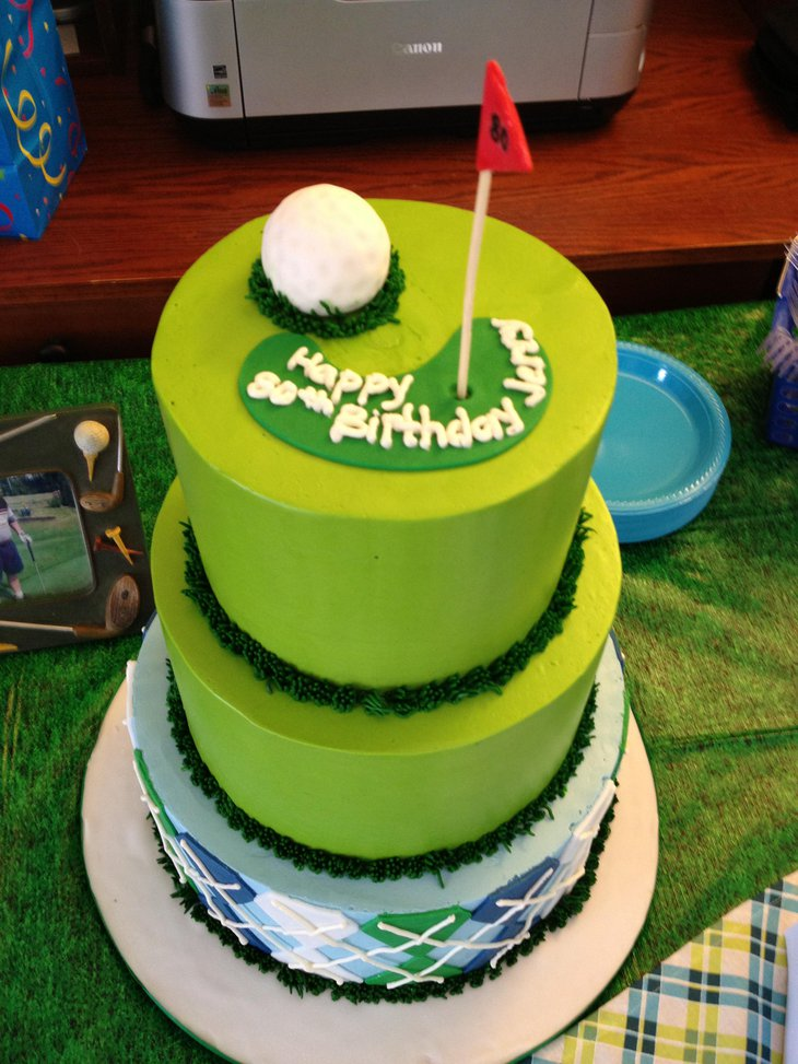 Cute 80th Birthday Cake Centerpiece Themed On Golf