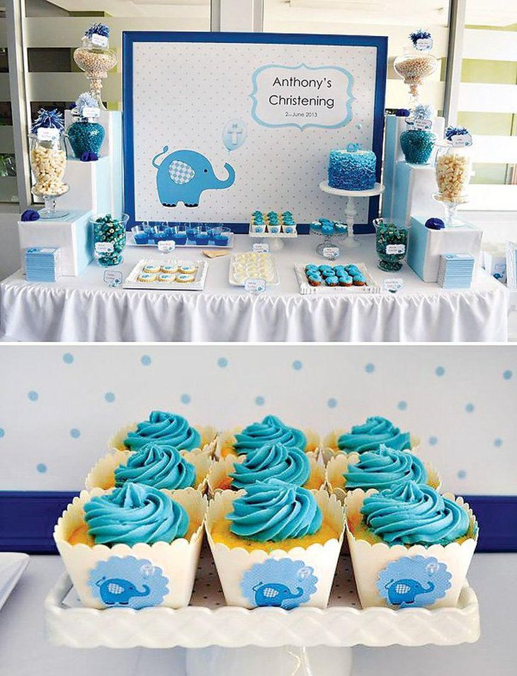 Cute blue elephant candy table for Christening